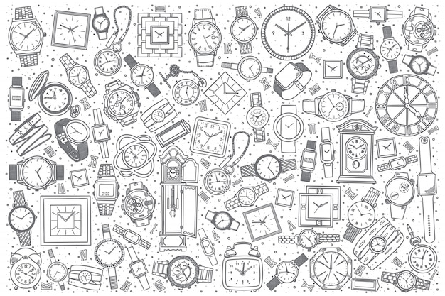 Hand drawn watch shop set