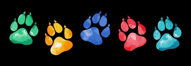 Hand drawn water color animal footprints silhouette of a paw print