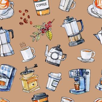 コーヒー機器のシームレスなパターンの手描き水彩と黒のラインアート。