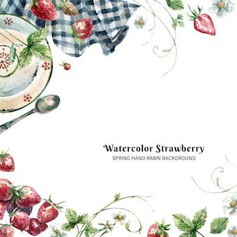 イチゴ、熟したベリー、葉、花のプレートと手描きの水彩画の背景。