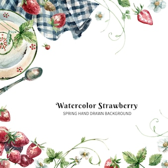イチゴのプレートと手描きの水彩画の背景