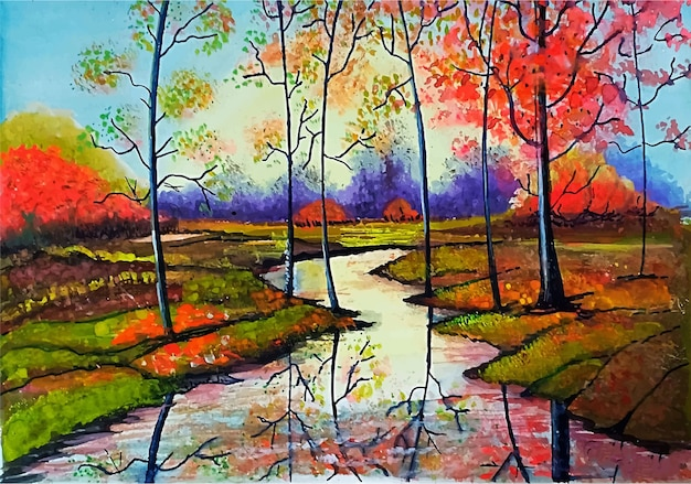 Hand drawn watercolor beautiful autumn scenery landscape illustration