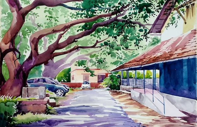 Hand drawn watercolor beautiful house and daily life illustration