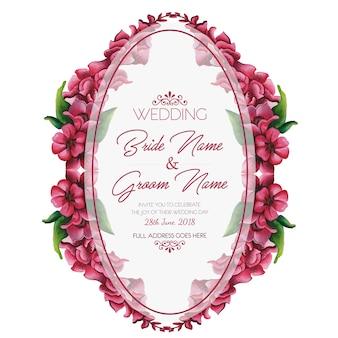 Ручная роспись акварель красивые розовые цветы приглашение на свадьбу