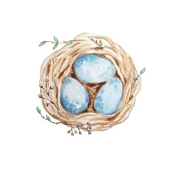 계란, 부활절 디자인 손으로 그린 수채화 새 둥지. 레트로 스타일. 흰색에 수채화 고립 된 그림입니다. 자연스러운 보헤미안 스타일.