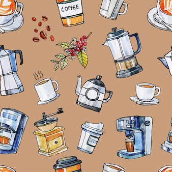 Hand drawn watercolor and black line art of coffee equipment seamless pattern.