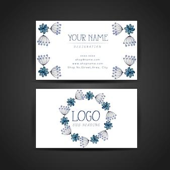 手描きの水彩ブルー花の名刺デザイン