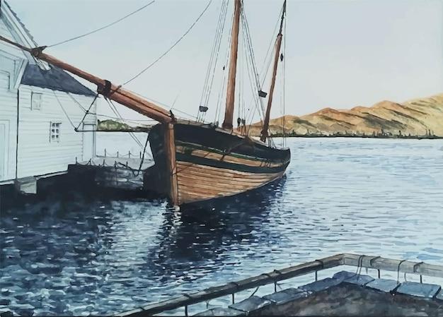 Ручной обращается акварель лодка иллюстрация внутри реки и моря