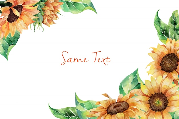 Hand drawn watercolor border template with sunflowers