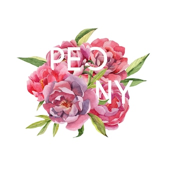 Hand drawn watercolor bouquet of peonies flowers with text
