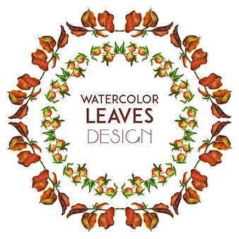Рисованные акварель браун листья кольцо