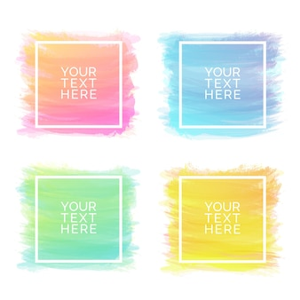 Hand-drawn watercolor brush strokes square set of different colors isolated