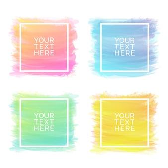分離された異なる色の手描き水彩ブラシストローク正方形セット