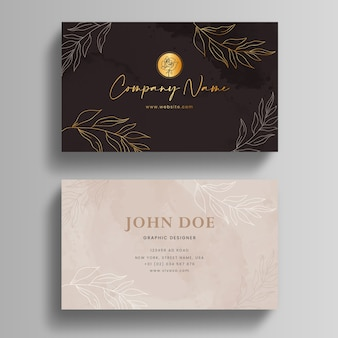 Hand drawn watercolor business card template