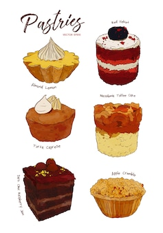 Hand drawn watercolor cakes set,