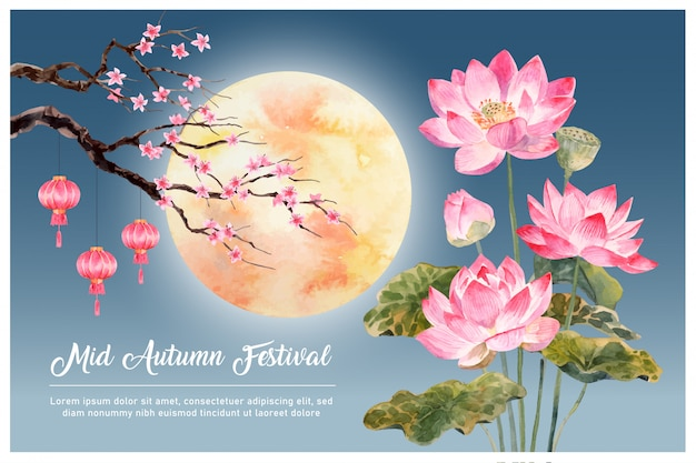"Hand drawn watercolor card with pink lotus with moon, lantern and peach blossom on dark blue-sky with ""mid-autumn festival"" text"