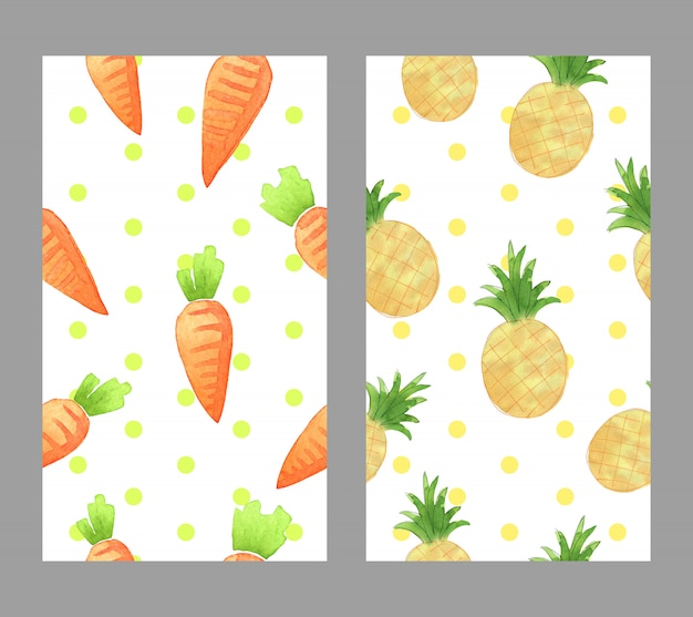 Hand drawn watercolor carrot and pinapple for wallpaper
