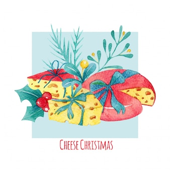 Hand drawn watercolor cheese christmas composition