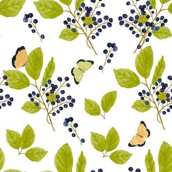 手描きの水彩チョークベリーの枝と空飛ぶ蝶のシームレスなパターン