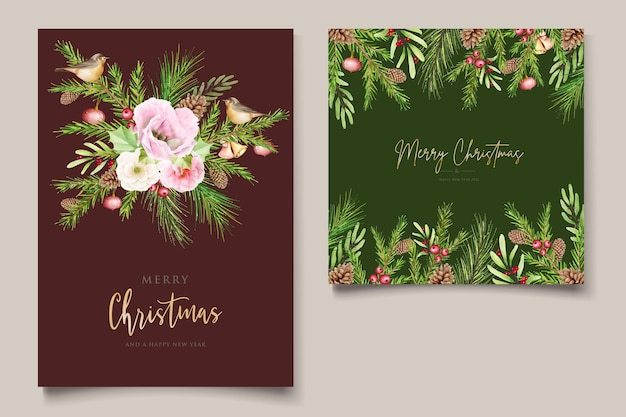 Hand drawn watercolor christmas background