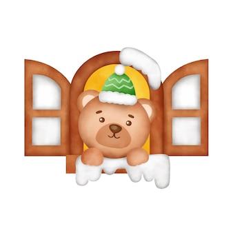 귀여운 곰이 있는 손으로 그린 수채화 크리스마스 카드.