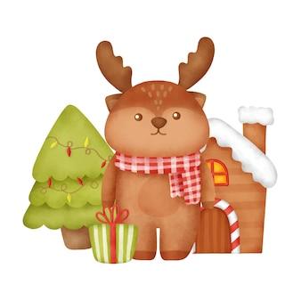 순록이 있는 손으로 그린 수채화 크리스마스 카드.