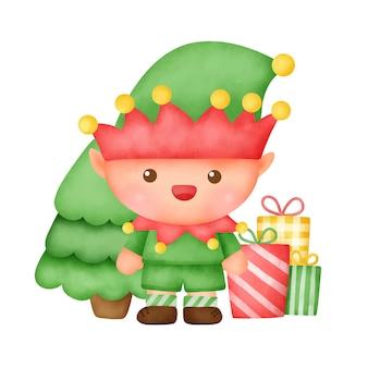 귀여운 엘 프와 손으로 그린 수채화 크리스마스 카드.