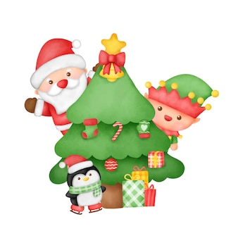 귀여운 산타 클로스와 친구들과 함께 손으로 그린 수채화 크리스마스 카드.