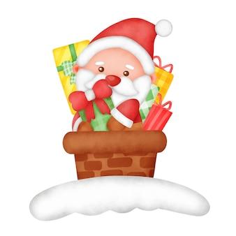귀여운 산타 클로스가 있는 손으로 그린 수채화 크리스마스 카드.