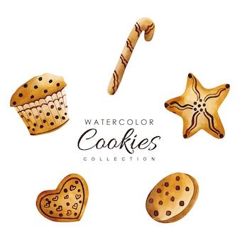 Hand drawn watercolor christmas cookies