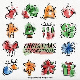 手描きの水彩画クリスマスの装飾コレクション