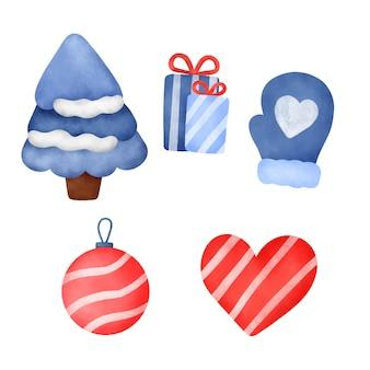 손으로 그린 수채화 크리스마스 장식 세트입니다.