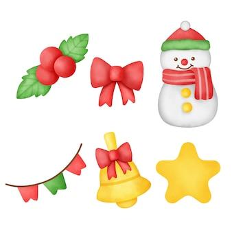 손으로 그린 수채화 크리스마스 요소 집합입니다.