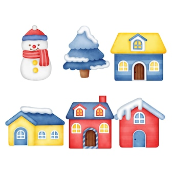 손으로 그린 수채화 크리스마스 집.