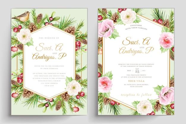 손으로 그린 수채화 크리스마스 초대 카드 세트