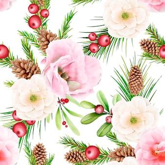 손으로 그린 수채화 크리스마스 원활한 패턴