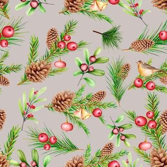 手描きの水彩画のクリスマスのシームレスなパターン