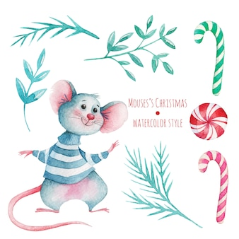Hand drawn watercolor christmas set with cute mouse and decorations