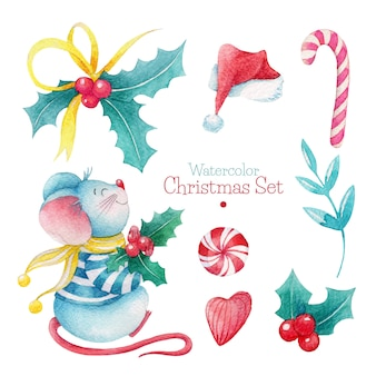 Hand drawn watercolor christmas set