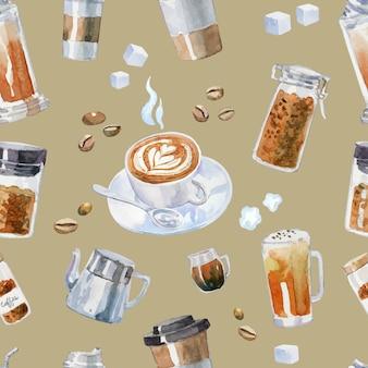 手描き水彩のコーヒー要素のシームレスパターン。