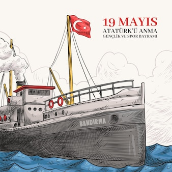 Hand drawn watercolor commemoration of ataturk, youth and sports day