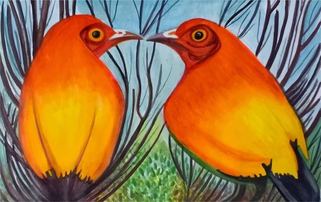 手描き水彩かわいい鳥のイラスト