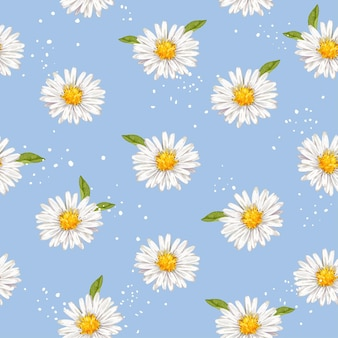 Hand drawn watercolor daisies flower  seamless pattern background