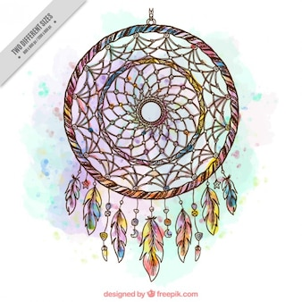 Hand drawn watercolor dreamcatcher background