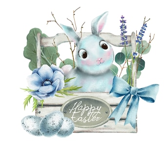 Hand drawn watercolor easter bunny in wooden basket