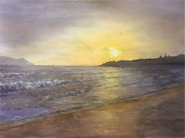Нарисованная рукой иллюстрация акварельной вечерней сцены на морском пляже