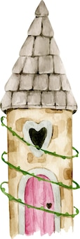 Hand drawn watercolor fairytale princess magic forest castle with heart shaped window, pink door in leaves.