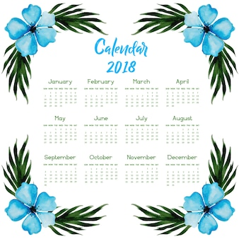 Hand drawn watercolor floral annual calendar 2018