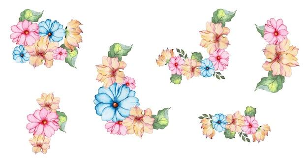 Набор рисованной акварель цветочного искусства