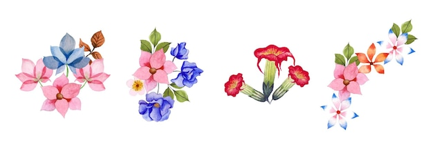 Hand drawn watercolor floral art set